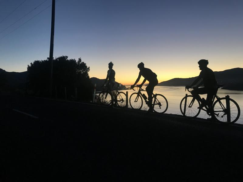 The best part is always the sunrise on the way over to Lyttleton to kick off the ride